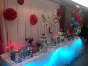 red turquoize full table